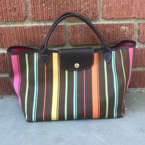 Longchamp Paris Canvas Striped Tote